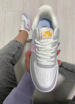 Nike air force shadow pink grey кроссовки найк женские форсы аир форс кеды обувь взуття2 фото