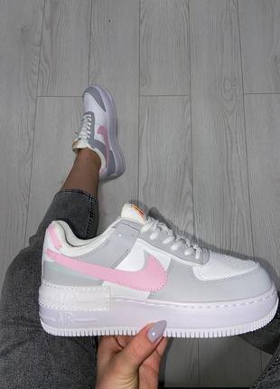 Nike air force shadow pink grey кроссовки найк женские форсы аир форс кеды обувь взуття8 фото