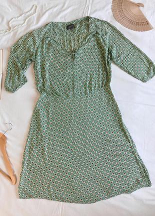 Нарядное бирюзовое платье с длинным рукавом из натуральной вискозы (размер 40-42)