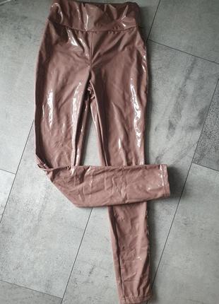 Лосини брюки винил латекс утяжка високая талия