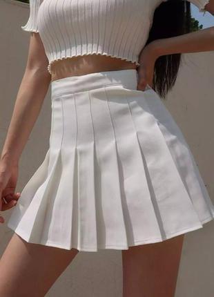 Белая юбка-тенниска плиссе 🌼