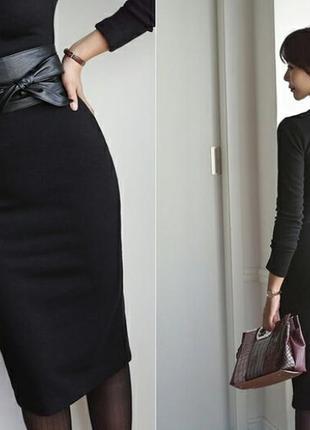 Кушак чёрный, широкий женский пояс, ремень на платье