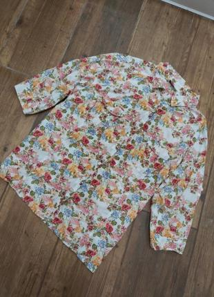 Рубашка в цветочный принт батал  из 100%хлопка