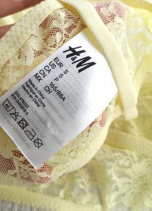 Кружевной жёлтый бюстгальтер бралетт/бра борцовка h&m 70 а/в8 фото