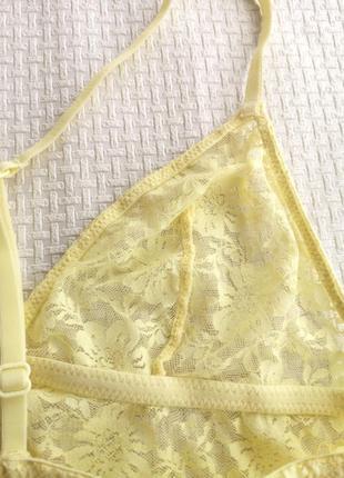 Кружевной жёлтый бюстгальтер бралетт/бра борцовка h&m 70 а/в7 фото