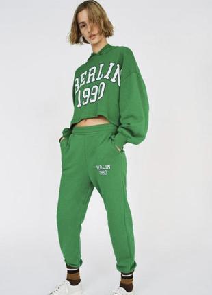 Зеленый костюм спортивный джогеоы свитшот худи оверсайз зара zara