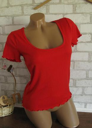 Красная футболка gina tricot в рубчик eur 36/38
