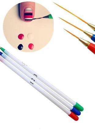Набор тонких кистей для художественной росписи ногтей (3 штуки )