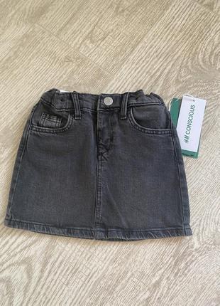 H&m джинсовая юбка 2-3года