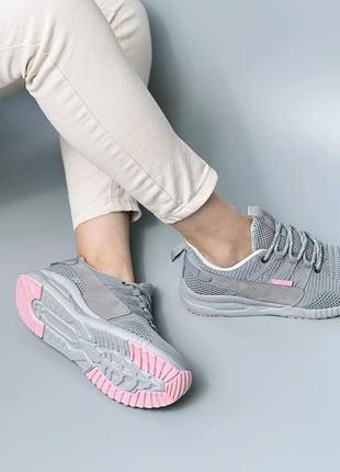 Женские серые текстильные кроссовки