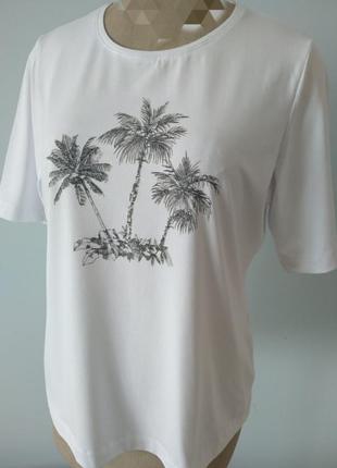 Футболка море пальмы белая трикотаж стрейч лето отдых германия