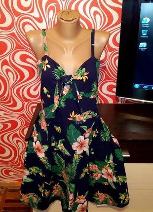 Стильное платье/сарафан,трапеция,отрезное,тропический принт,хлопок,для пышной груди