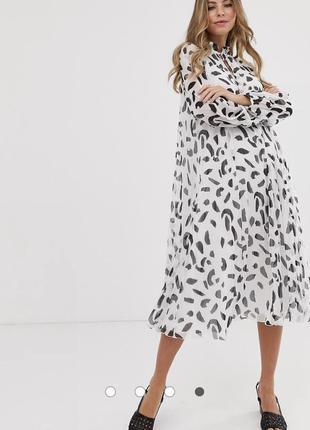 Плиссированное платье-трапеция мини с принтом asos design