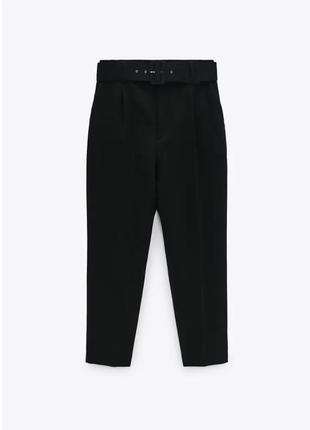 Черные брюки/штаны на высокой талии/посадке с широким поясом зара/zara