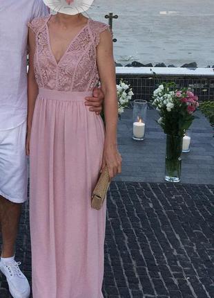 Платье для подружки невесты пудра свадебное платье в пол кружевное платье с открытой спиной