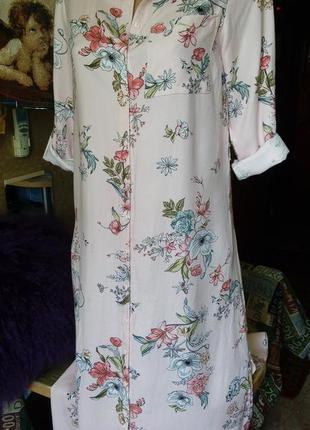 Актуальное платье рубашка /нежно-розовое/цветочный принт/ max/100%вискоза/