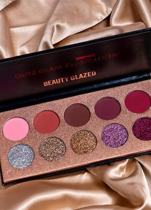 ✨🎨сияющая палетка теней для век beauty glazed glitz glam eyeshadow palette (10 color)