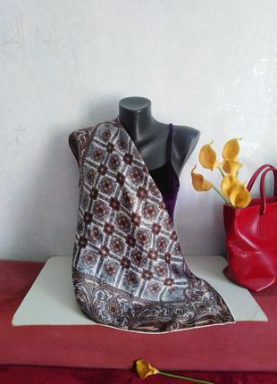 Натуральный шелк, платок в коричневых тонах, 67*64