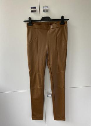 Новые коричневый зауженные брюки штаны лосины из эко кожи marc cain размер 34
