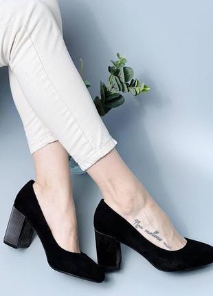 Женские черные туфли на устойчивом каблучке