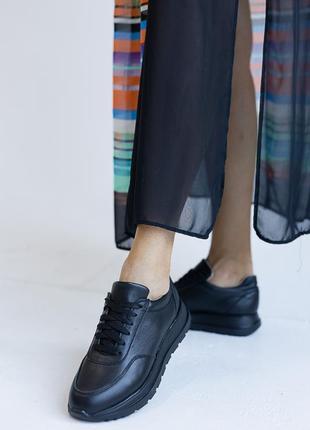 Натуральная кожа! базовые кросы чорные