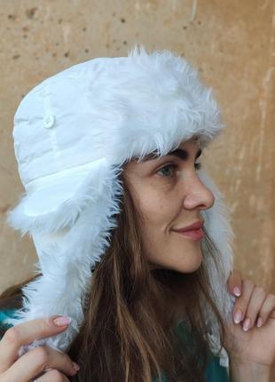 Зимняя шапка ушанка белая с мехом, lonsdale, англия
