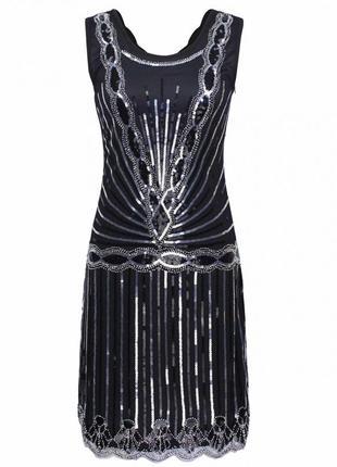Платье гетсби ромбик черное с серебром