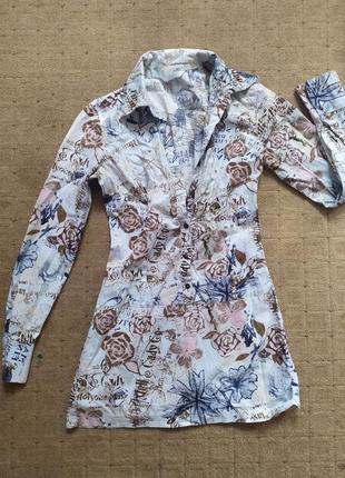 Платье туника в розах бренд хлопок