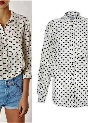 Стильная белая натуральная рубашка в принт сердечки от new look