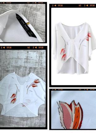 Шифоновая укороченная блуза футболка zara