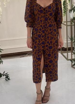 Платье зара zara плаття миди рукава фонарики фанарики буфи на пуговицах сукня на ґудзиках в принт