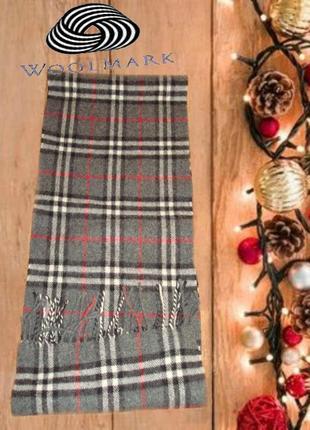💨💨woolmark 1,36 шерстяной теплый мужской шарф в клетку с бахромой 💨💨2 фото