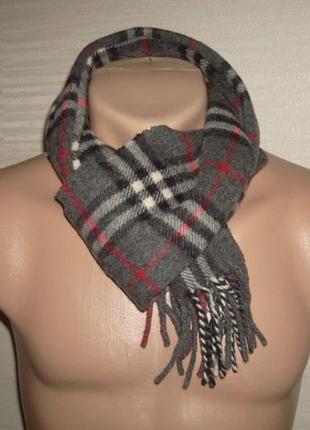 💨💨woolmark 1,36 шерстяной теплый мужской шарф в клетку с бахромой 💨💨3 фото