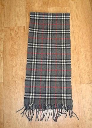 💨💨woolmark 1,36 шерстяной теплый мужской шарф в клетку с бахромой 💨💨5 фото