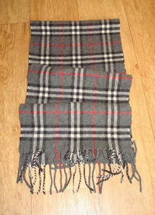 💨💨woolmark 1,36 шерстяной теплый мужской шарф в клетку с бахромой 💨💨6 фото