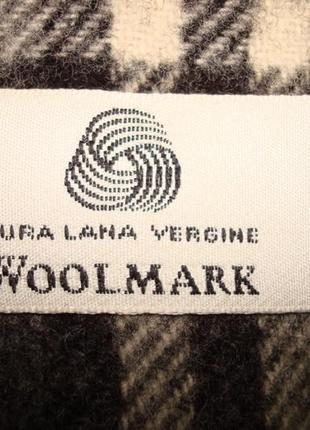 💨💨woolmark 1,36 шерстяной теплый мужской шарф в клетку с бахромой 💨💨7 фото