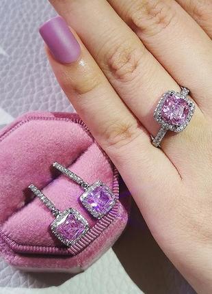 Шикарный набор кольцо + серьги гвоздики розовый камень