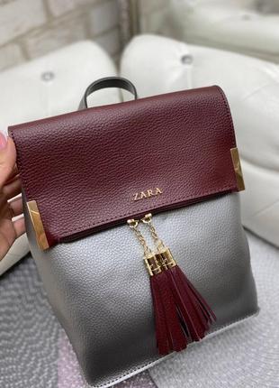 Стильные рюкзаки кисточки - серебро бордовый