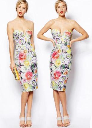 Распродажа! натуральное  платье asos миди с лифом-бандо