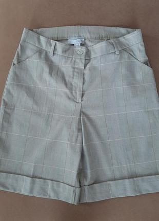 Бежевые удлинненые шорты бренд heine базовые шорты бермуды завышенная талия германия