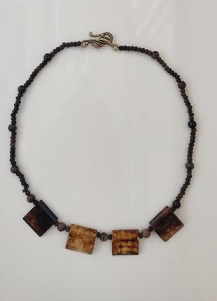 Авторское дизайнерское ожерелье, колье, бусы, подвеска, намисто, коралі слоновая кость, гатуралтный камень (агат), сандаловое дерево