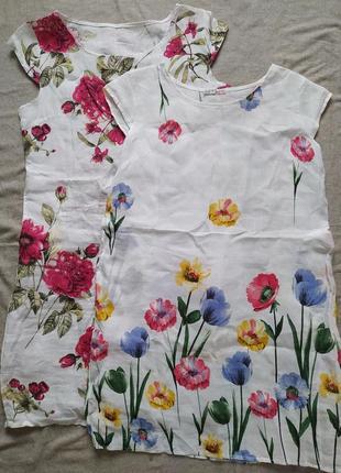 Платье лен плаття з льону в квіти  італія