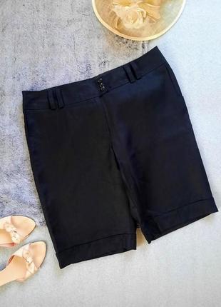 Льняные черные шорты для города городские шорты  батал