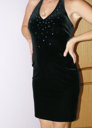 Платье вечернее (коктельное) велюрово-бархатное размер  s - м