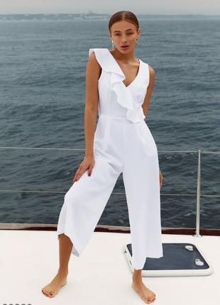 Белый комбинезон с брюками-клеш