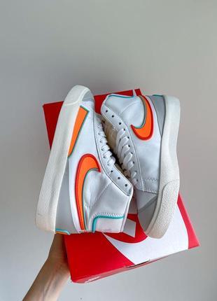 Nike blazer mid 77🆕женские кожаные высокие кроссовки найк блазер🆕белые с оранжевым
