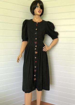 Винтажное платье с вышивкой лен+хлопок