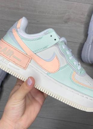 Кроссовки найк женские аир форс кеды обувь взуття nike air force shadow orange