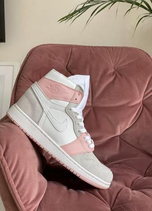 Женские кроссовки nike air jordan 1 high серые с розовым
