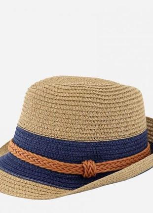 Крутая шляпа бежевая коричневая синяя 56-58р. унисекс/капелюх соломка